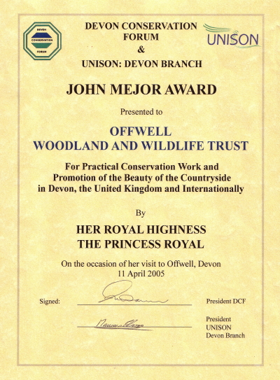 The John Mejor Award presented to Offwell Woodland & Wildlife Trust.